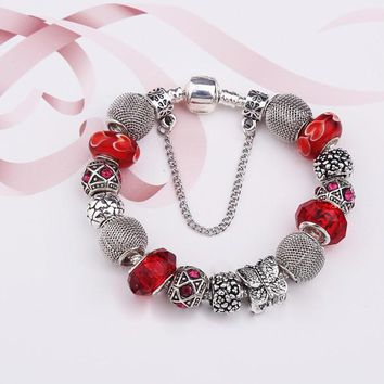 New summer style Silver Plated Butterfly Charm beads fit pandora bracelets for women