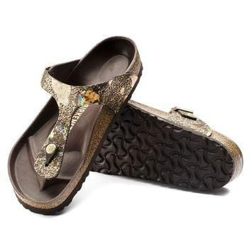 Birkenstock Gizeh Lux Leather Spotted Metallic Brown 1006884 Sandals
