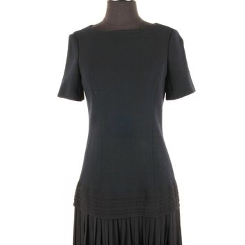 Dior Navy and Black Wool Crepe Dress