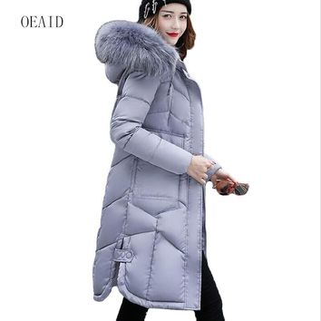 Fashion Snow Wear Large Fur Collar Ladies Coats 2017 Winter Coat Women Parka Long Thick Slim Womens Coats And Jackets Outerwear
