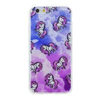 Beautiful Unicorns Collage In Purple Clouds Blue Dense Soft Silicone TPU Clear Transparent Phone Back Case Cover for iPhone 5 5s 6 6s 7 7 Plus