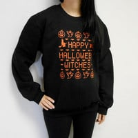 Unisex Happy Halloween Witches Crew Neck Fleece Sweatshirt. Ugly Halloween Sweater. Happy Halloween Witches