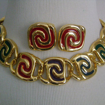 Fabulous Vintage Retro Gold Tone Metal With Colorful Red Green Blue and Purple Swirl Enamel Collar Cleopatra Necklace & Pierced Earrings Set
