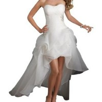 GEORGE BRIDE Strapless High-low Satin Wedding Dress Size 6 White