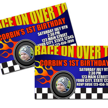 "Printed Race Car Birthday Invitations 4"" x 6"""