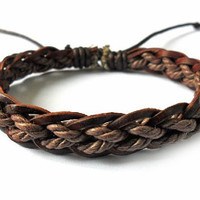 Jewelry bangle leather bracelet ropes bracelet woven bracelet man bracelet women bracelet with Cotton Ropes and leather woven  SH-0265