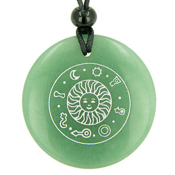 Positive Energy Talisman of Sun Green Quartz Magic Pendant Necklace