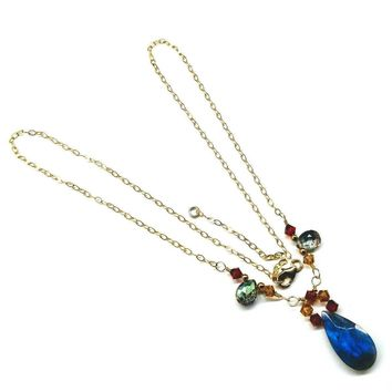 14 KT Gold Filled Wire Wrapped Labradorite Drop Crystal Necklace