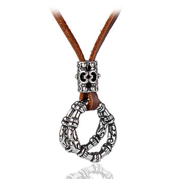 Brown real Leather and alloy pendant adjustable necklace mens necklace  unisex necklace cool necklace B2754