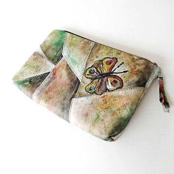 Leather clutch, Cosmetic bag, Makeup bag, phone bag, wallet, genuine leather smal bag, hand painted purse,  handmade