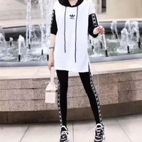 """Adidas"" Women Personality Casual Multicolor Webbing Hooded Short Sleeve Leggings Trousers Set Two-Piece Sportswear"