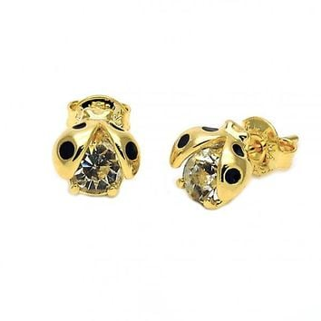 Gold Layered 02.09.0020 Stud Earring, Ladybug Design, Enamel Finish, Golden Tone
