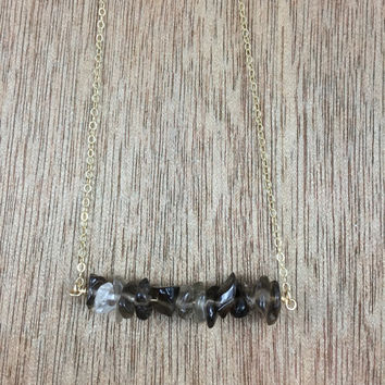 14k gold filled smoky quartz chip bead bar necklace / bridesmaid necklace / dainty necklace / minimalist necklace / statement