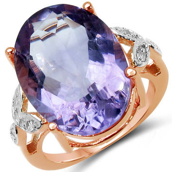 18K Rose Gold Plated 10.50 Carat Genuine Pink Amethyst & White Topaz .925 Sterling Silver Ring
