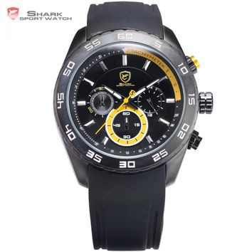 Spinner SHARK Sport Watch Waterproof Yellow 6 Hands Chronograph 24 Hours Round Black Rubber Band Mens Quartz Watches Gift /SH259