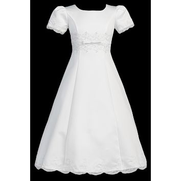 Satin & Lace Trim A-Line Girls Communion Dress w. Princess Seams 7-14 & 10x-20x