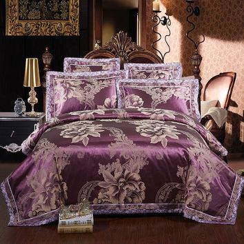 2017 Luxury silk Cotton Turquoise Satin Jacquard Wedding Bedding Sets 4/6pcs King Queen Size Duvet Cover Bed Linen Set