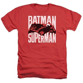 Adult Batman Vs Superman/Silhouette Fight Heathered Short Sleeve
