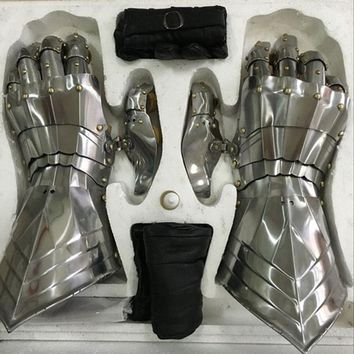 Stainless Steel Metal Gothic Gauntlet Armor Hands Cosplay Knight