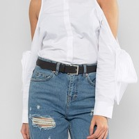 ASOS Leather Silver Buckle Waist And Hip Belt at asos.com
