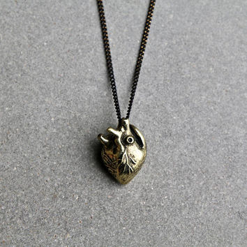 Anatomical Heart Pendant Necklace - Antique Brass Necklace - Heart Pendant Necklace - Modern Jewelry - Modern Necklace by Modern Out