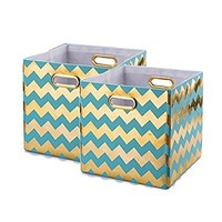 Baist Decorative Storage Cubes,Pretty Cheap Foldable Linen Fabric Bed Storage Bins Baskets For Toys Clothes Towel-2 pack,Aqua Chevron