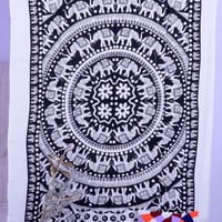 White Elephant Indian Mandala Hippie Twin Wall Hanging Tapestry Throw Bedspread
