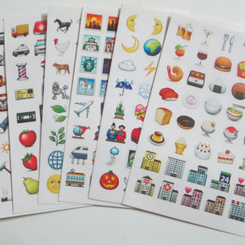 Emoji stickers, Planner stickers - all iPhone emoticons available (5 sheets of stickers per order)