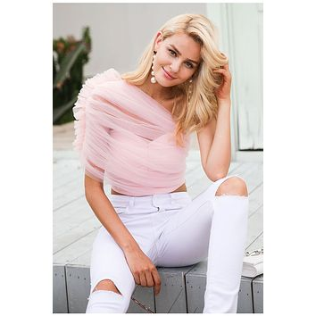 One shoulder Mesh Crop Blouse