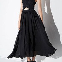Black Sweetheart Strappy Backless Open Belly Chiffon Dress