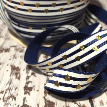 "Navy White Gold Foil Hearts 5/8"" Fold Over Elastic, FOE, Hair Accessory Supplies"