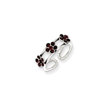 Sterling Silver Stellux Crystal Floral Toe Ring