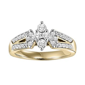 Cherish Always Round-Cut Diamond Cluster Engagement Ring in 10k Gold (1/2 ct. T.W.)