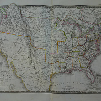 USA antique map LARGE 1825 original antique print of The United States Oregon Territory California Texas Mexican vintage maps poster 21x26""