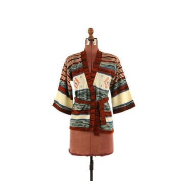 Vintage 1970's Bell Sleeve Acrylic Knit Space Dye Ethic Southwest Space Dye Gray + Rust Hippie Cardigan Sweater S