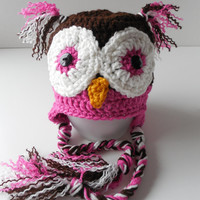 Owl Baby Girl Hat - 0 to 3 Months - Pink