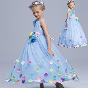 Girls Dress 2017 Summer Cinderella Dress Blue Princess Costume For Kids Party Girls Clothes Toddler Dresses For Girls Vestidos