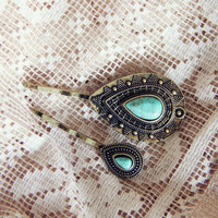 Turquoise & Stone Hair Pins