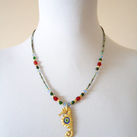 Minimalist Necklace with Turkish Evil Eye and Indian Beads, Gift for her, Minimalist Necklace, Evileye necklace, Hippocampus Necklace