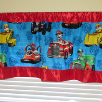 Blue Paw Patrol satin edge curtains/cotton valance/red satin edge