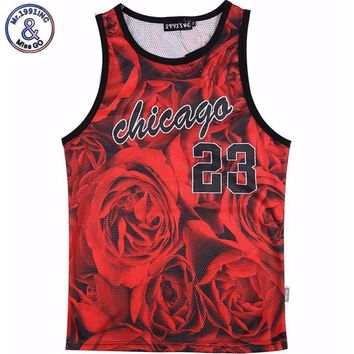 men's summer tank tops 3D print rose floral Chicago Jordan 23 vest fit slim jersey sleeveless tee shirts