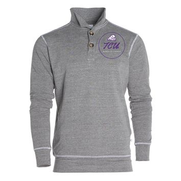 Official NCAA Texas Christian University Horned Frogs TCU Horned Frog FROGS FIGHT Women's Boyfriend Fit Triblend 1/4 Button Pullover Full Sleeve O-Neck Durable Premium Sweatshirt