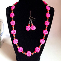 Hot pink flower necklace set with hematite and faceted glass beads, beaded jewelry, spring accessories, summer necklace