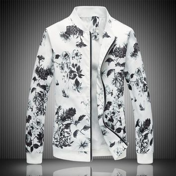 2018 Spring Men's Jacket Prints, Plus Size Fashion Youth Jacket ,Summer Men's White Suits Coat  M-5XL 6XL