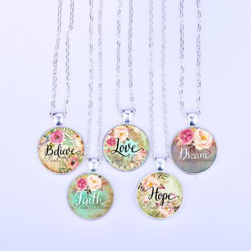 Love/Hope/Dream/Faith/Believe/Wish Necklace Letter Glass Cabochon Pendant Long Chain Necklace Girl Women Jewelry Gifts for Kids