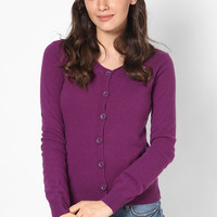 Purple Basic Cardigan