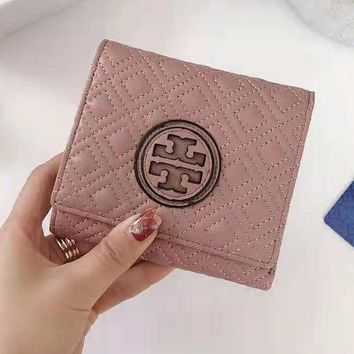 Tory Burch High Quality Fashionable Women Men Leather Three Folding Cowhide Purse Wallet Pink