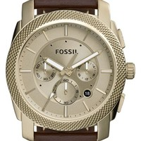 Men's Fossil 'Machine' Chronograph Leather Strap Watch, 44mm - Brown/ Beige