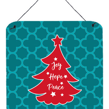 Christmas Tree Teal Red Wall or Door Hanging Prints BB6970DS66