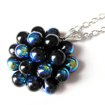 Black Berry Cluster Pendant Necklace - Limited Edition - Statement necklace, Black Pendant Necklace, Bubbly Black Glass Berry Necklace